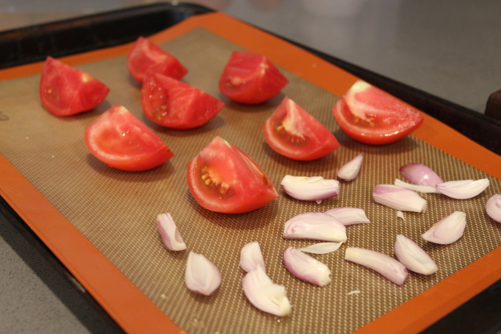 Un-roasted tomatoes and shallots